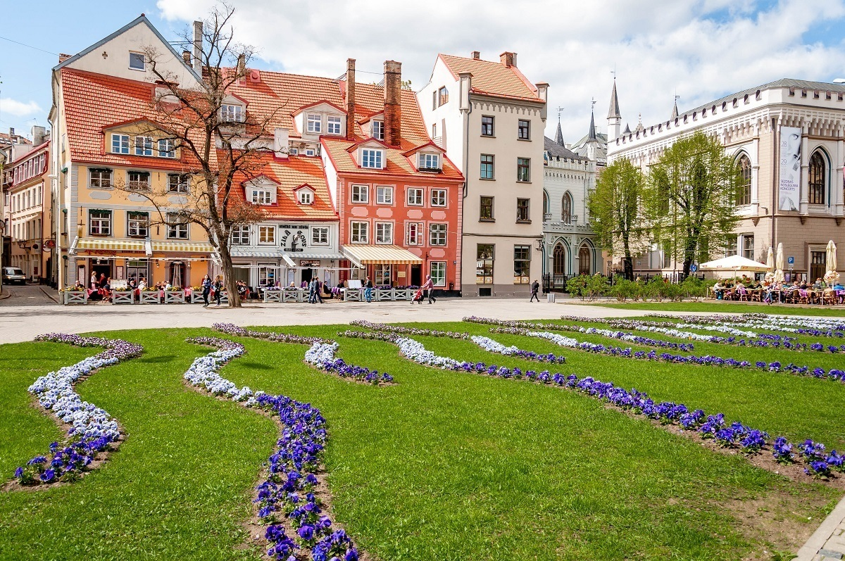 City square with flowers in the middle