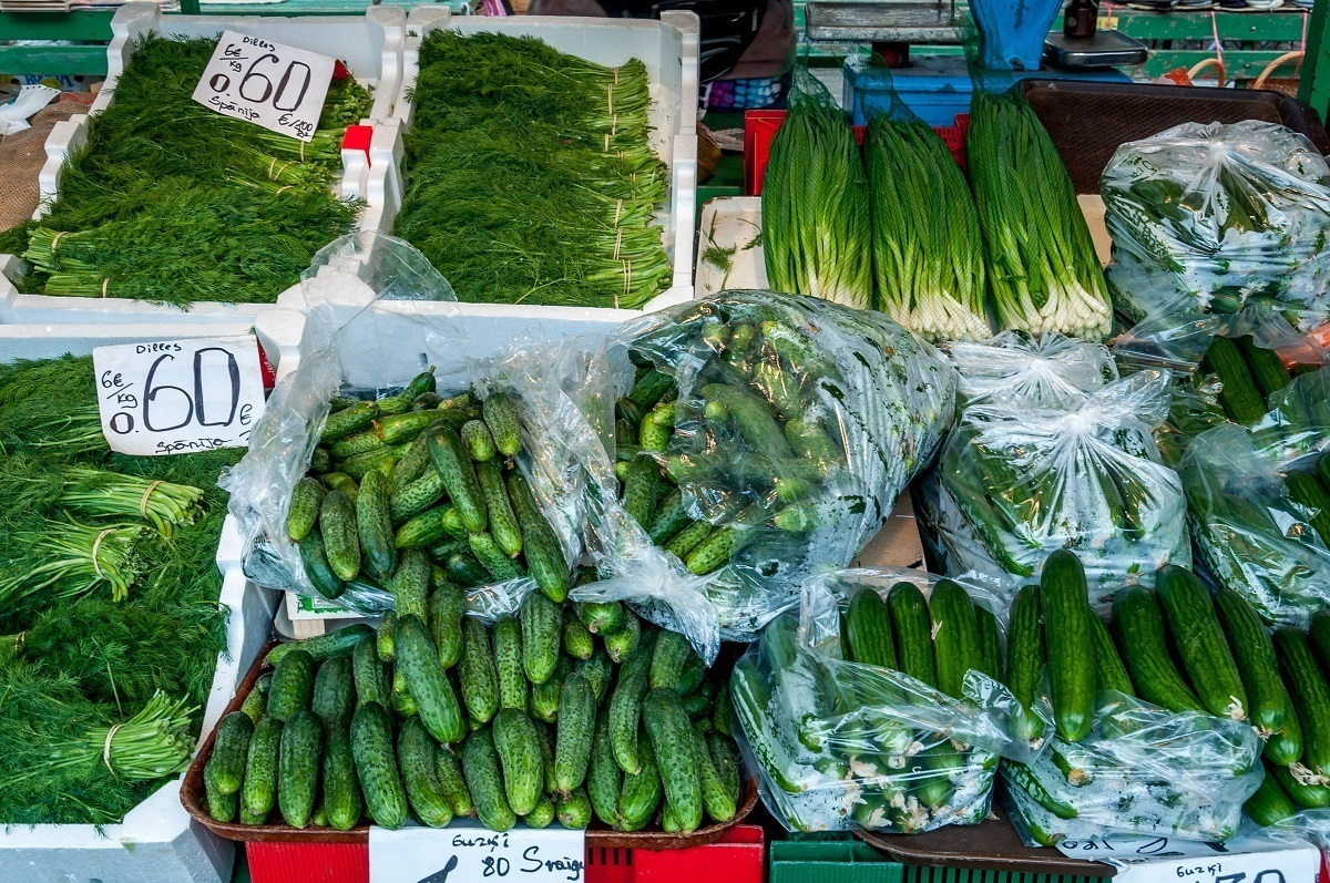 Cucumbers and herbs for sale