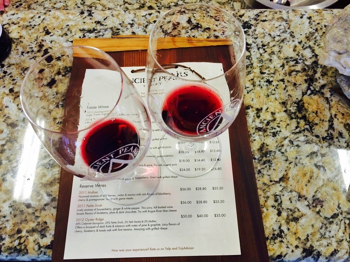 Two glasses of red wine at the Ancient Peaks Winery outside of Paso Robles