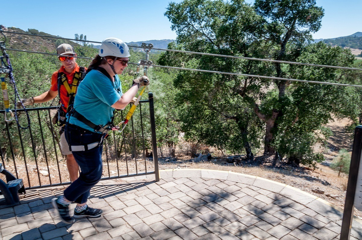 Laura getting a running start at the top of the Paso Robles zip line