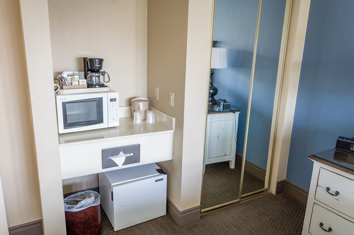 Each room has a mini-refrigerator, microwave and a coffee maker