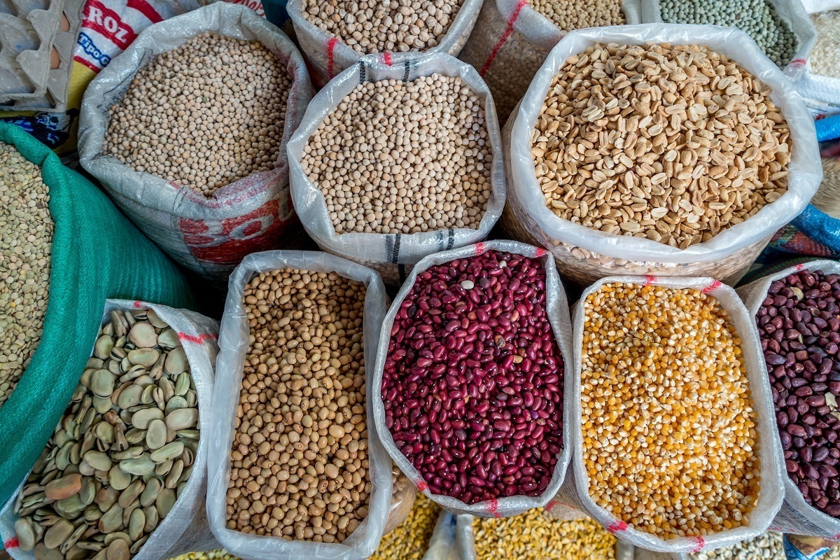 Giant sacks of local beans and grains for sale at the Otavalo Saturday market