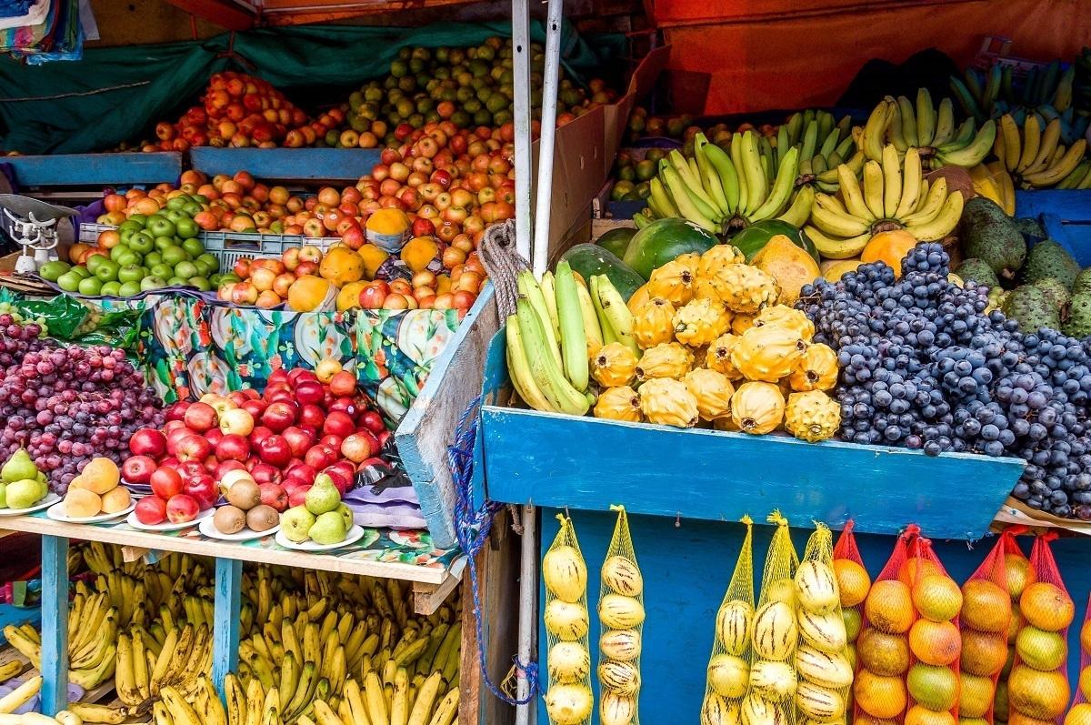 Fruit stand in Ecuador's Otavalo market