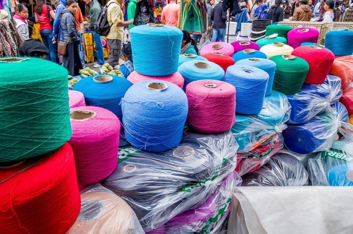 Spools of yarn at the Otavalo Saturday market in Ecuador