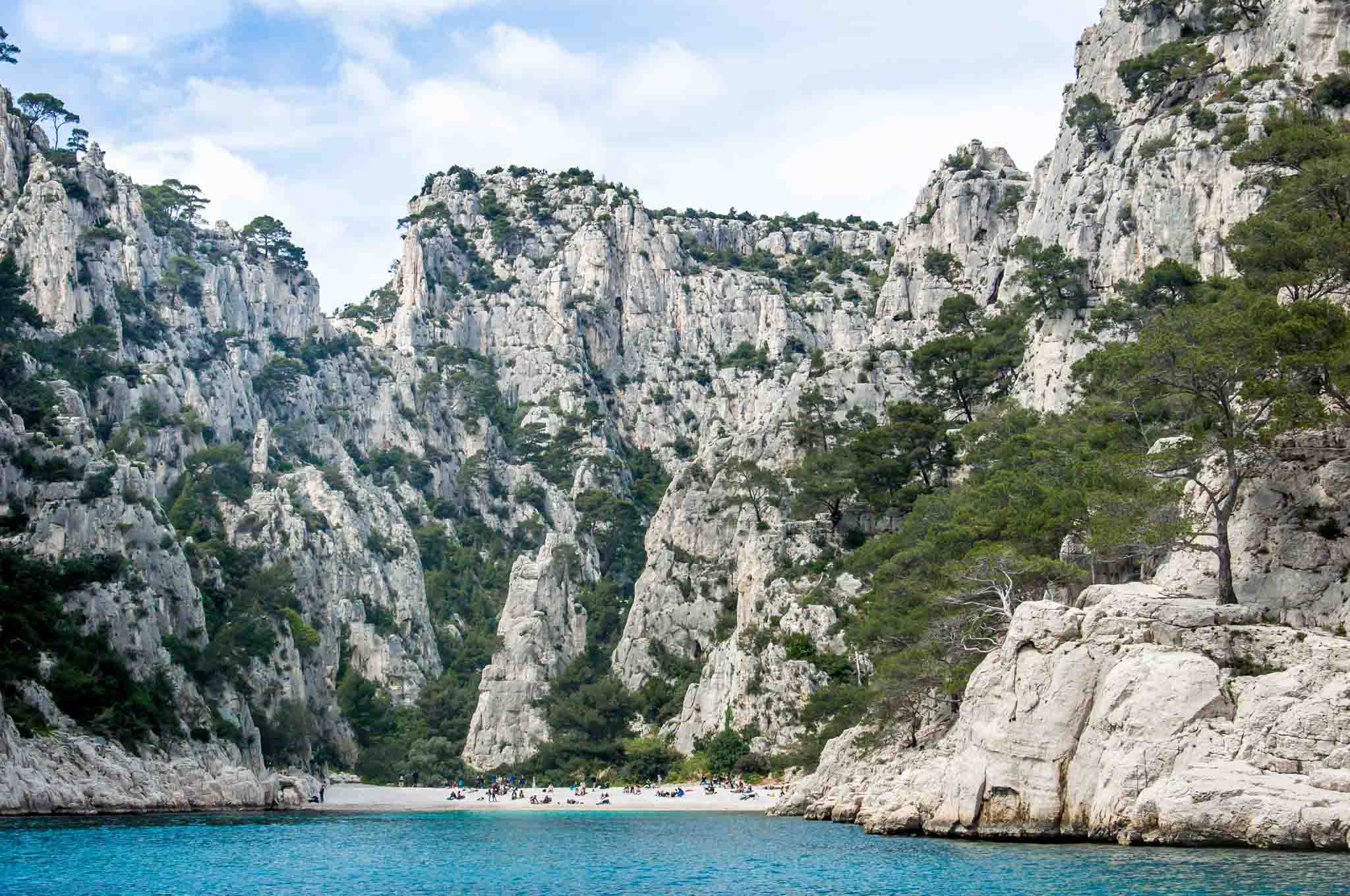 Beach in between the rocky calanques of Cassis