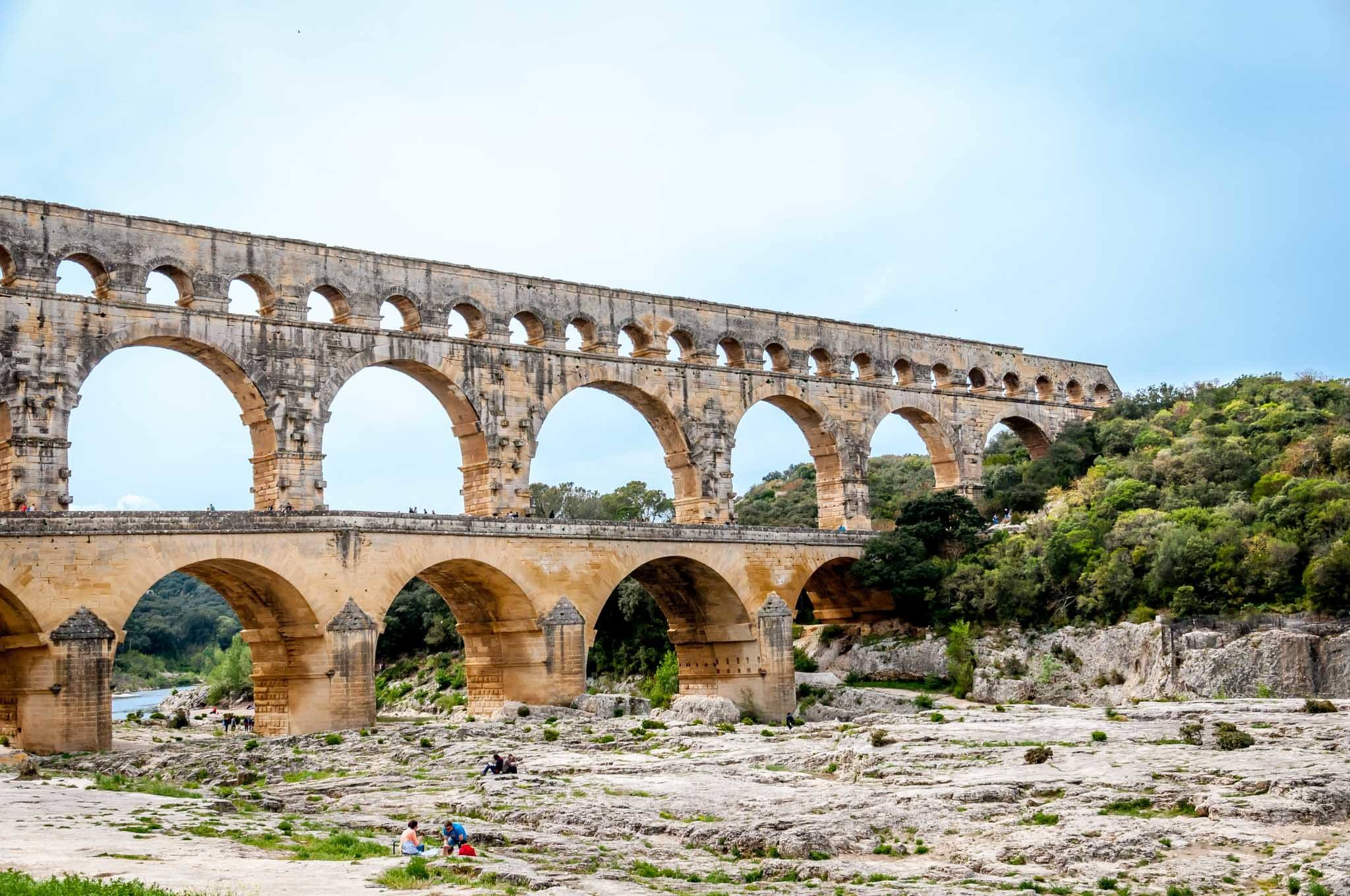 Stone arches of an ancient aqueduct
