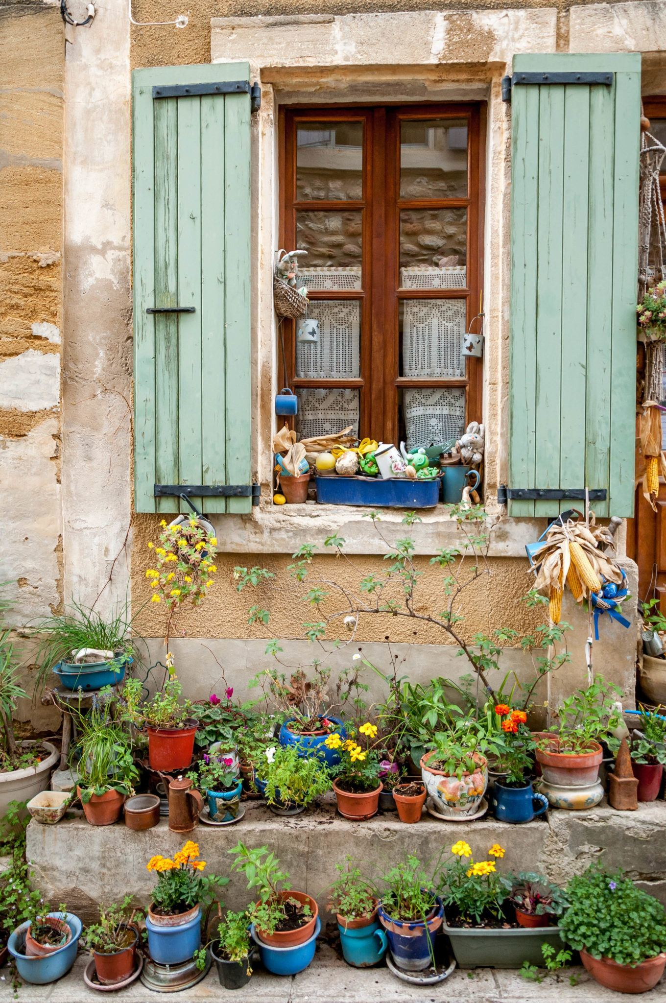 Colorful window with potted plants in Gigondas, France