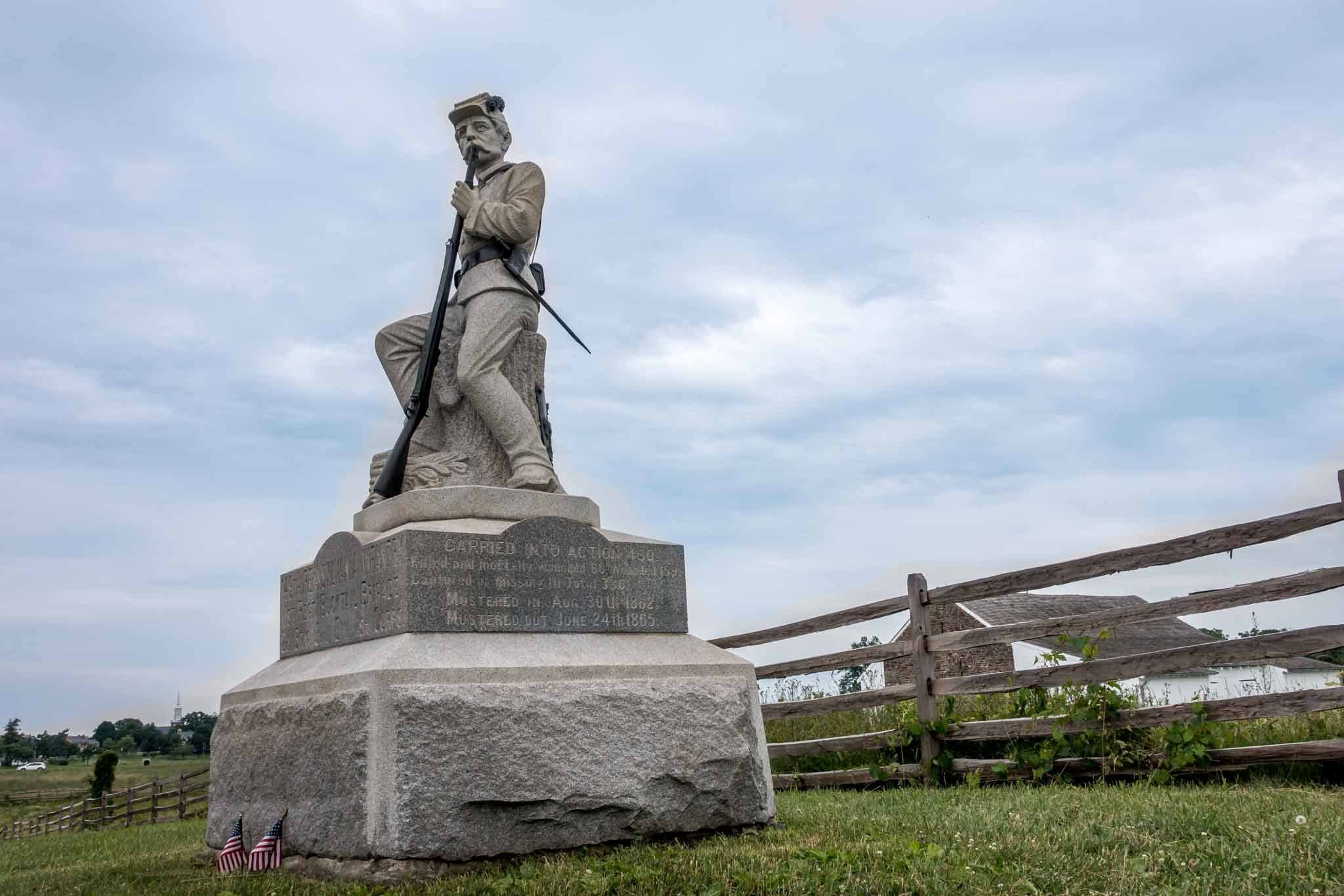 Statue of a Civil War soldier holding a gun