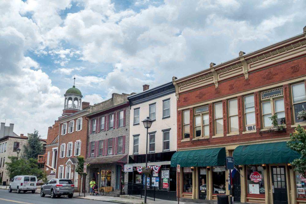 Shops along a street in downtown Gettysburg, Pennsylvania