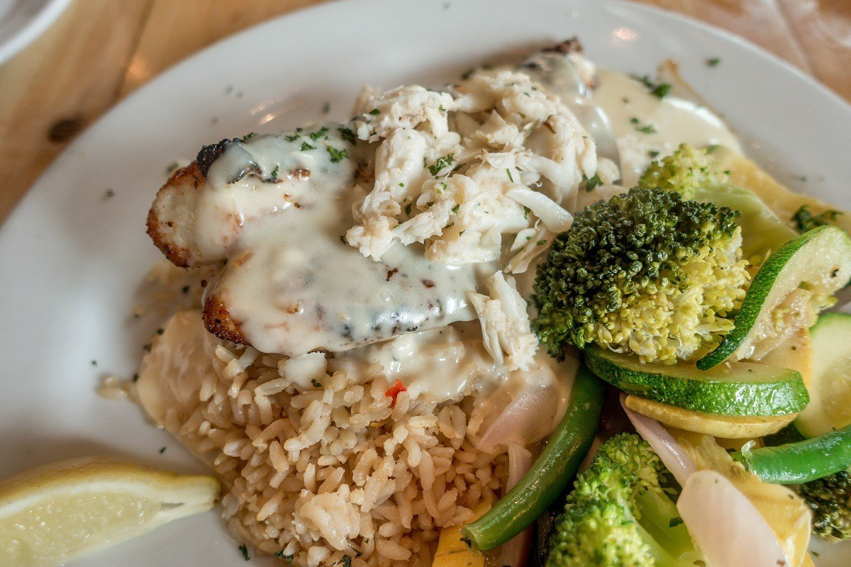 Rockfish topped with crab