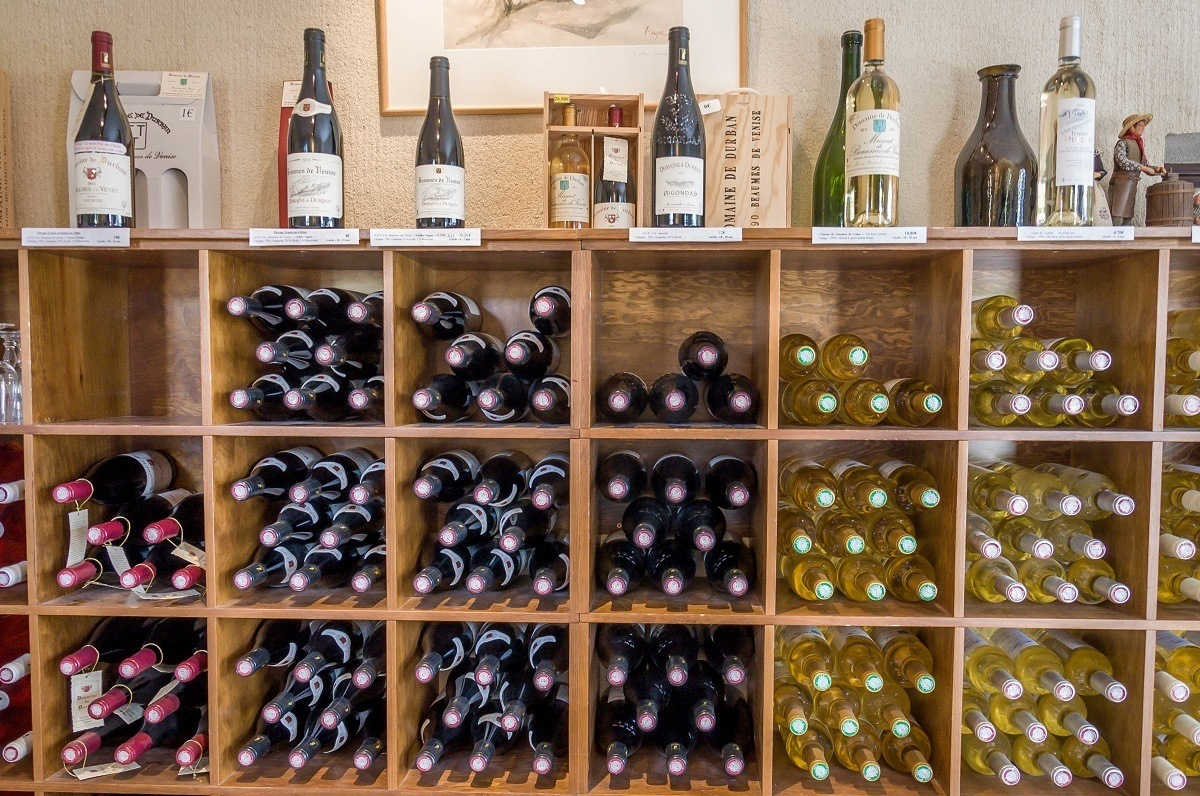 Bottles of wine for sale at the Domaine de Durban