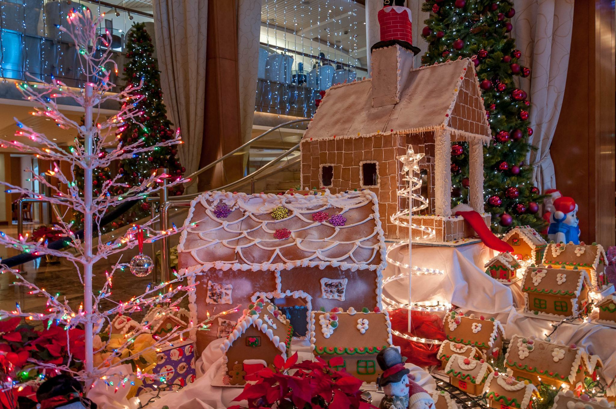 Gingerbread houses on display on the Celebrity Summit during a holiday cruise