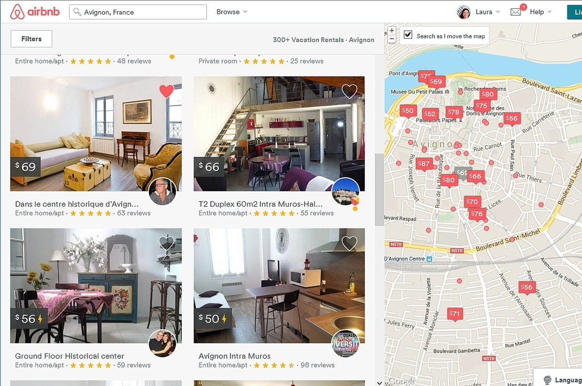 Screenshot of Airbnb property finder