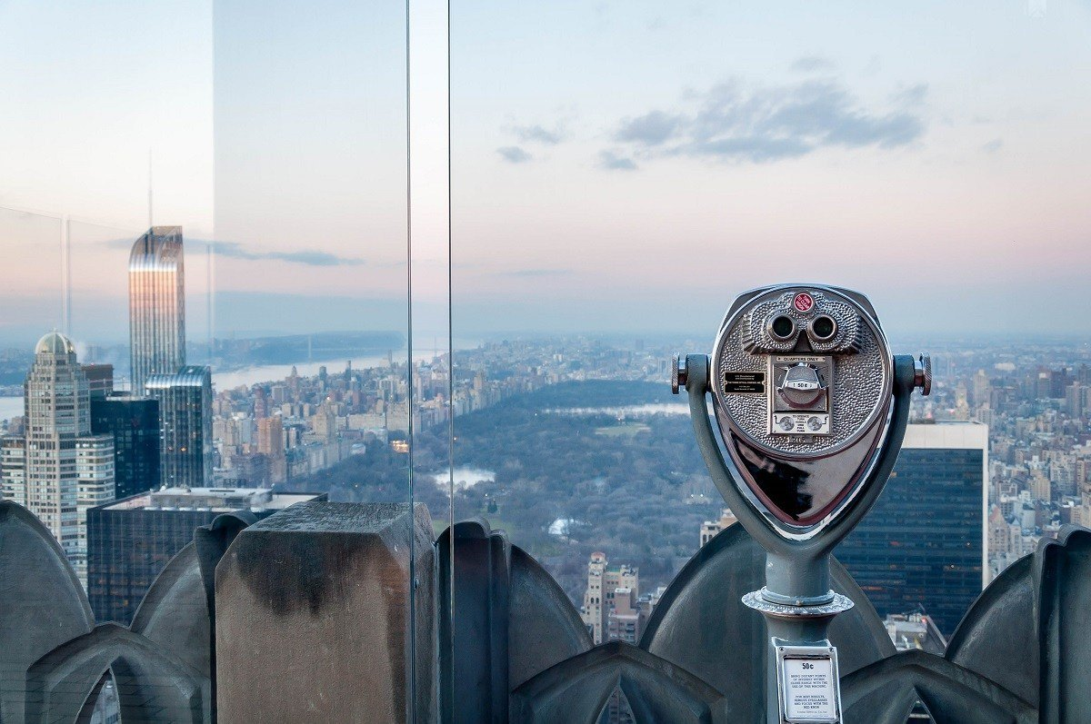 Viewfinder overlooking Manhattan from the Top of the Rock at Rockefeller Center