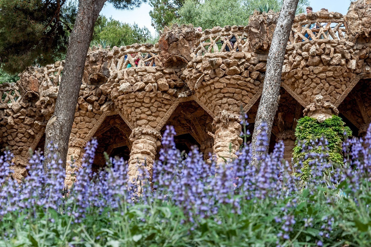 Pillars with flowers in Gaudi's Park Guell