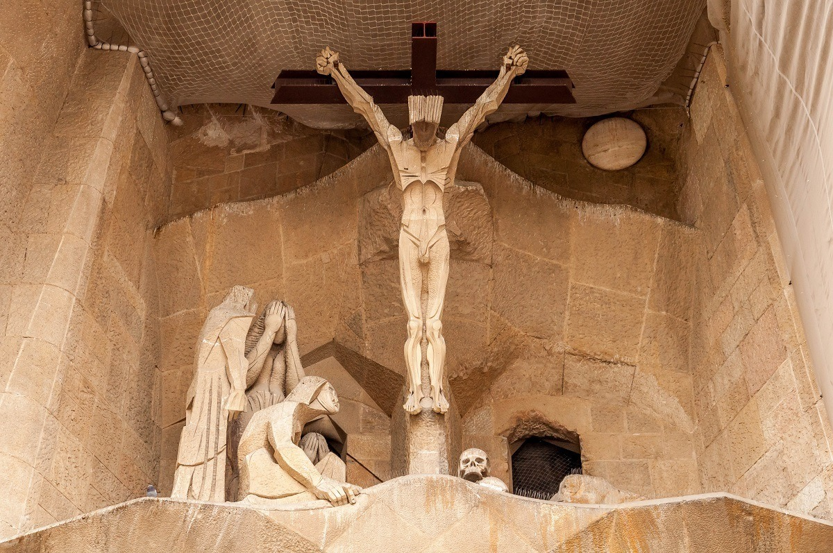 The crucifix at Sagrada Familia in Barcelona