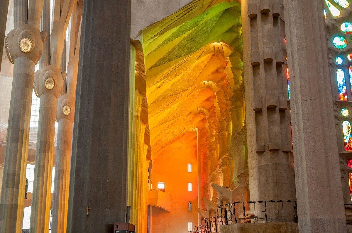 Colors from the stained glass in the interior of Gaudi's Sagrada Familia