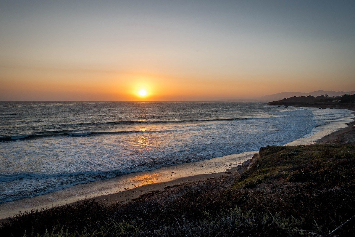 Sunset over the Pacific Ocean at Moonstone Beach