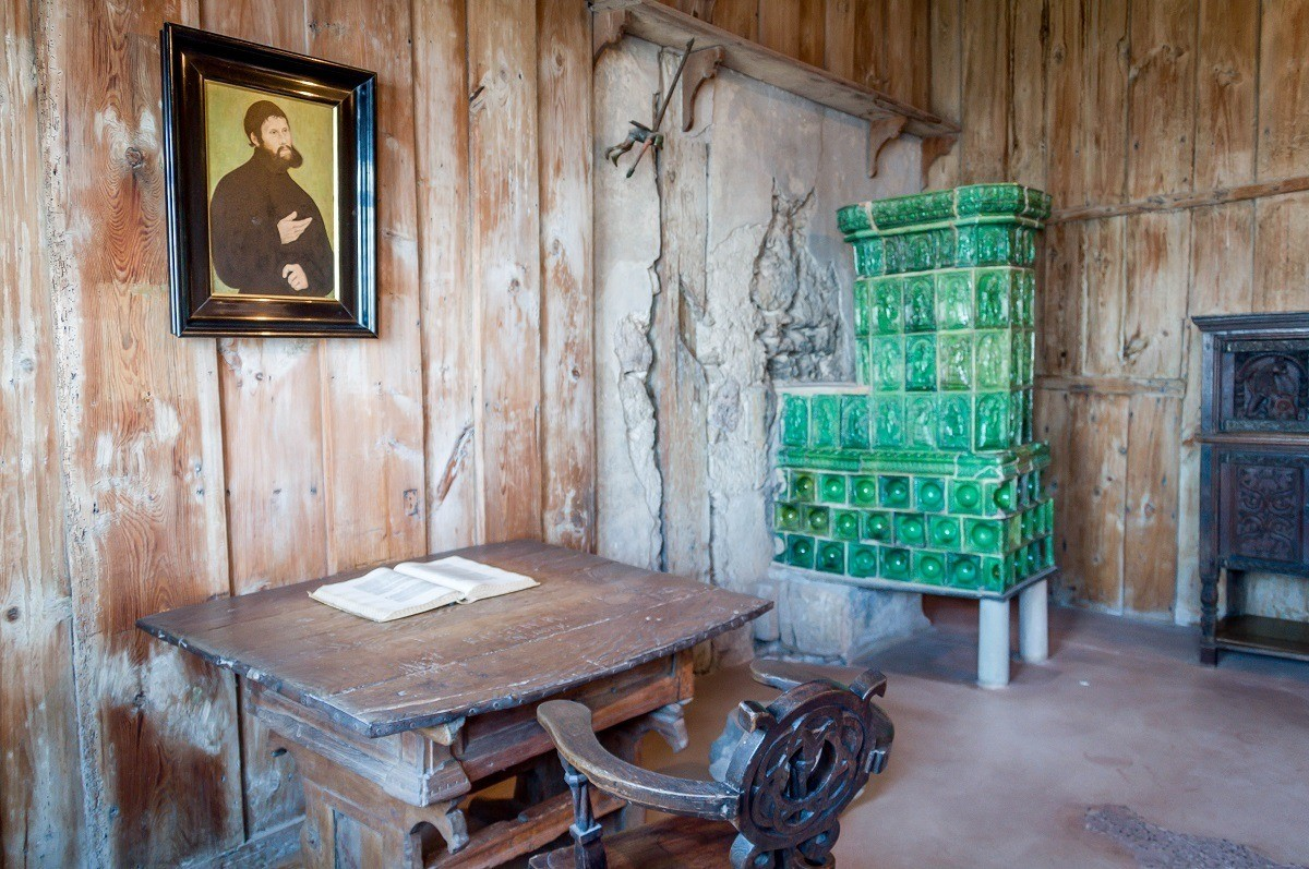 Martin Luther's sparse cell at Wartburg Castle in Eisenach