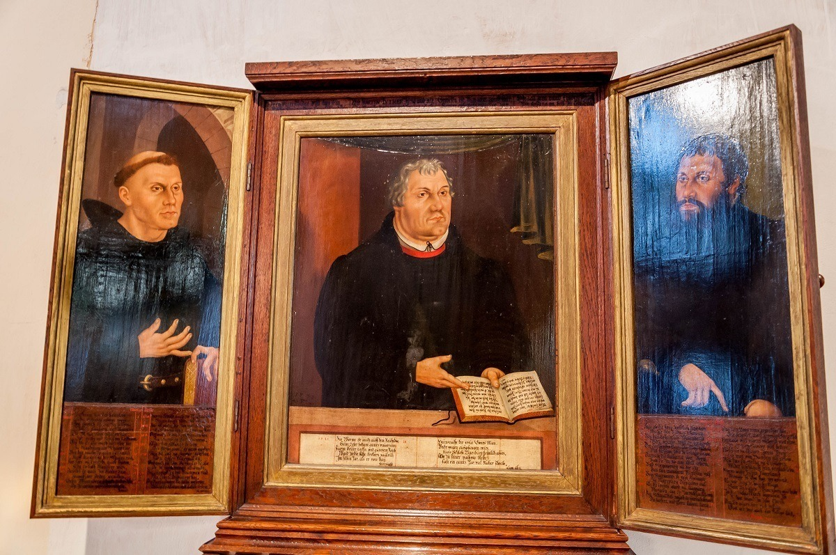 The Martin Luther triptych by Lucas Cranach at the Herder Church in Weimar