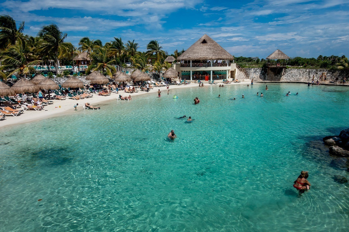 The beach area of the Hotel Occidental at Xcaret Destination in Playa del Carmen, Mexico