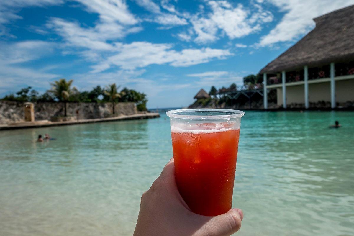 Cocktail overlooking the ocean