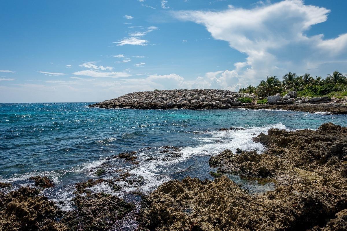 Rocky coastline of the ocean