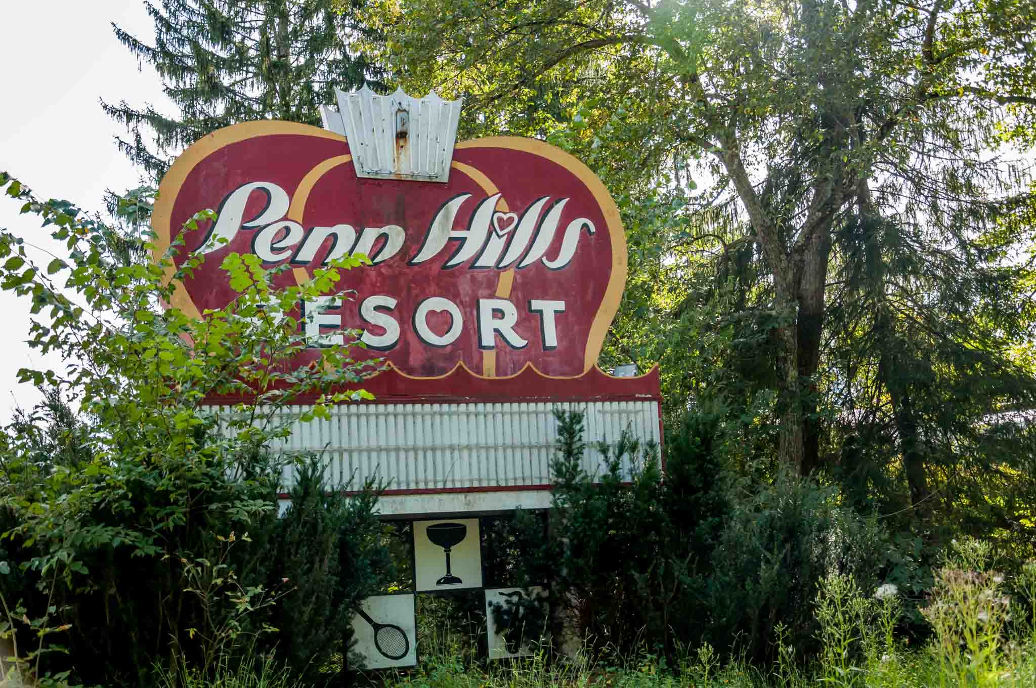 Sign for the abandoned Penn Hills Resort in the Poconos