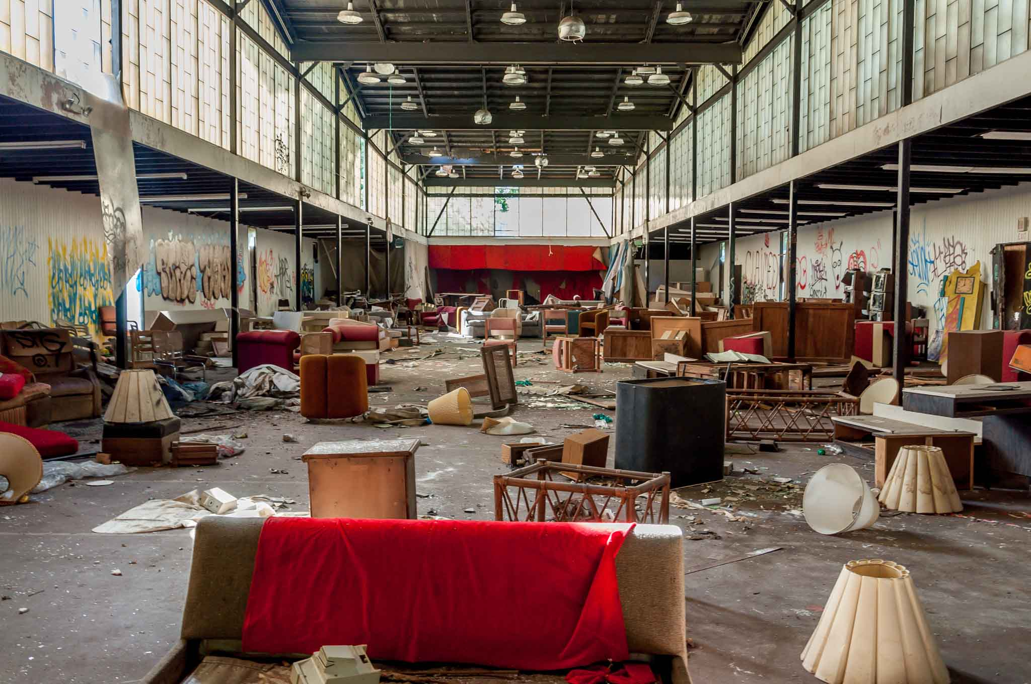 Remains of a furniture sale at the Penn Hills Resort