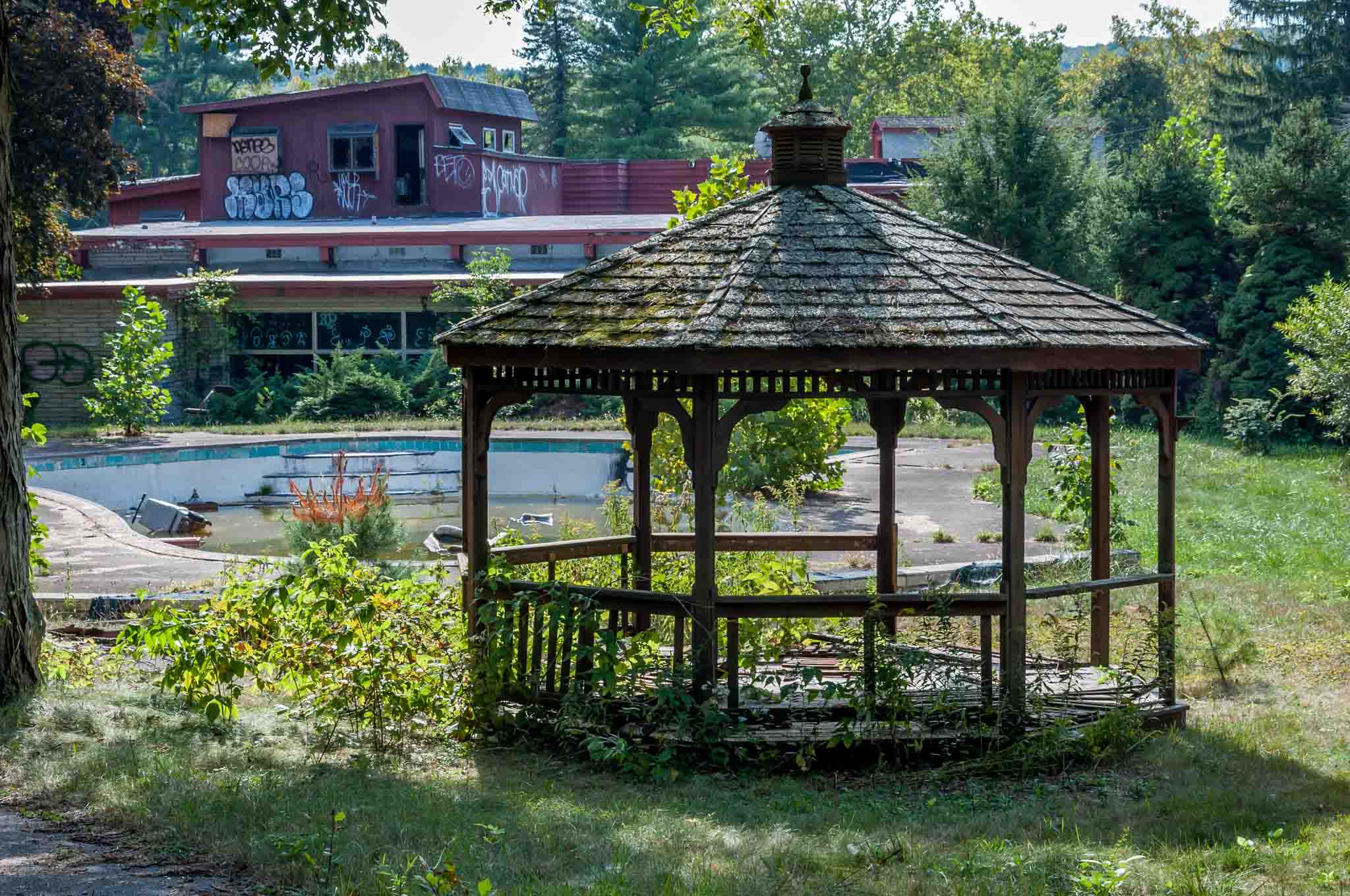 A gazebo at one of the abandoned resorts in Pennsylvania