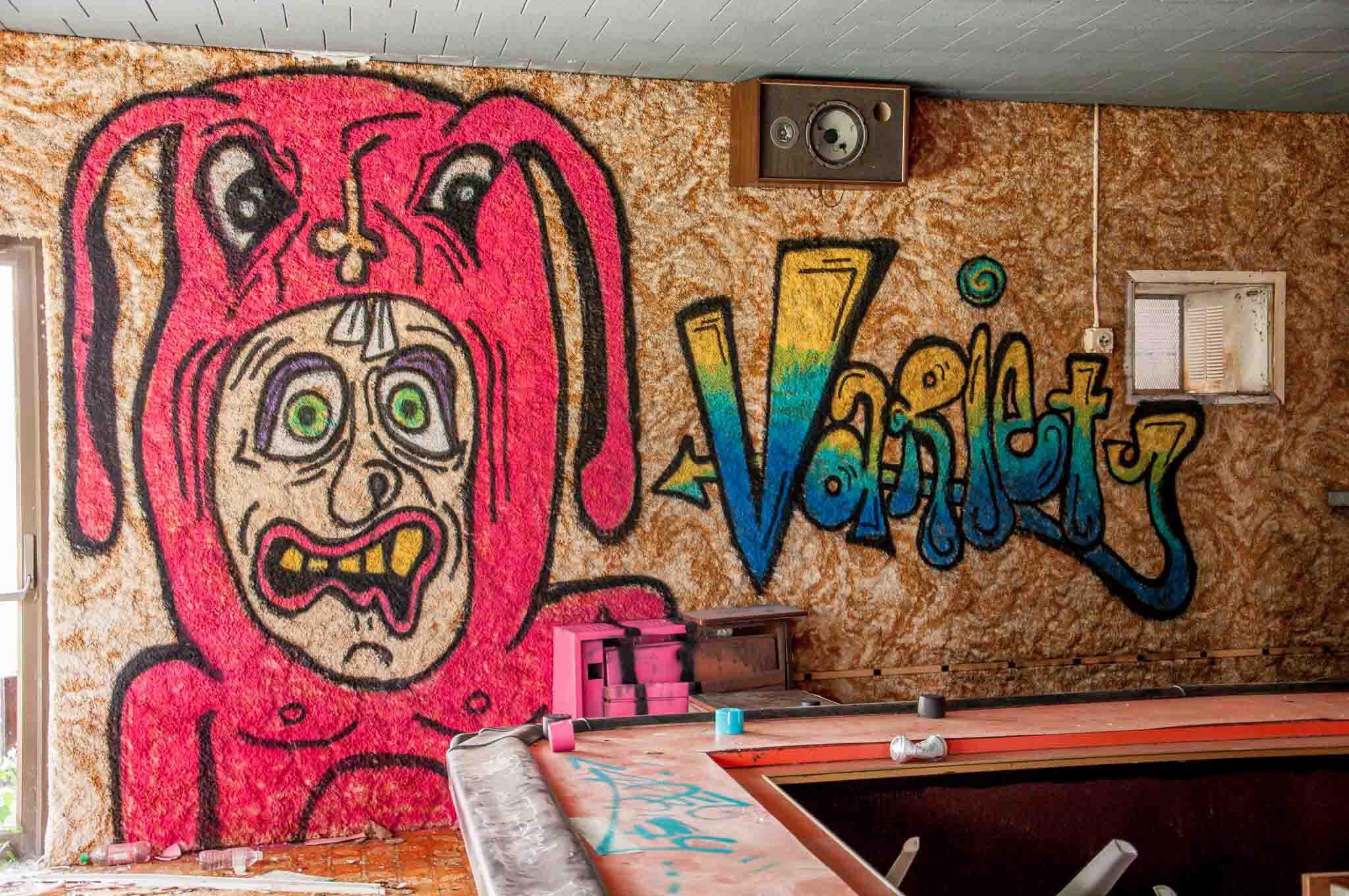 Graffiti at one of the abandoned Poconos resorts