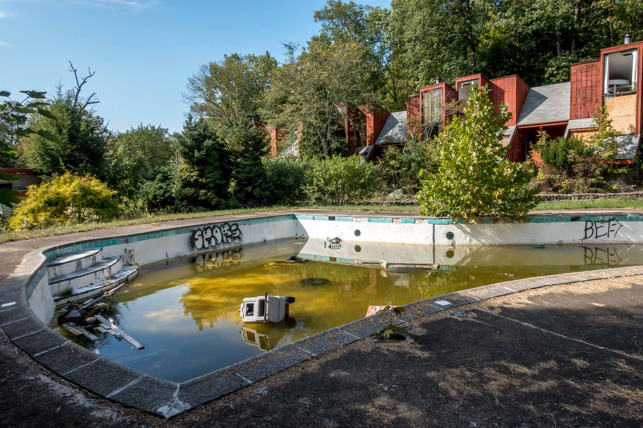 The outdoor pool at the abandoned Penn Hills Resort