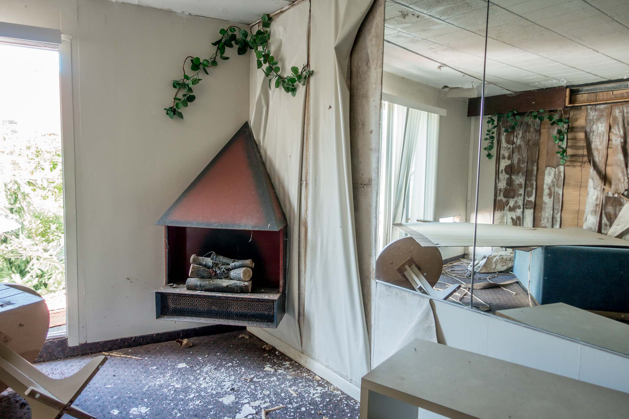 A fireplace in one of the abandoned Poconos resorts