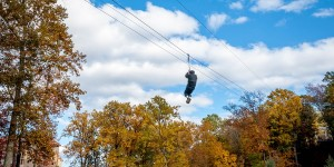 The zip line at Camelback Mountain Adventures: our TomTom Bandit Adventure.