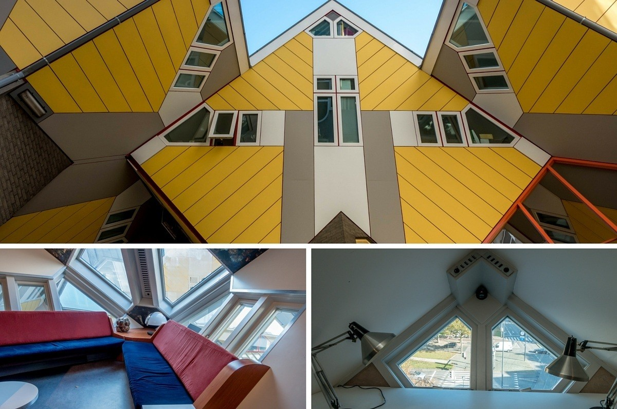 Collage of photos including close up of yellow Cube Houses and angular interior details