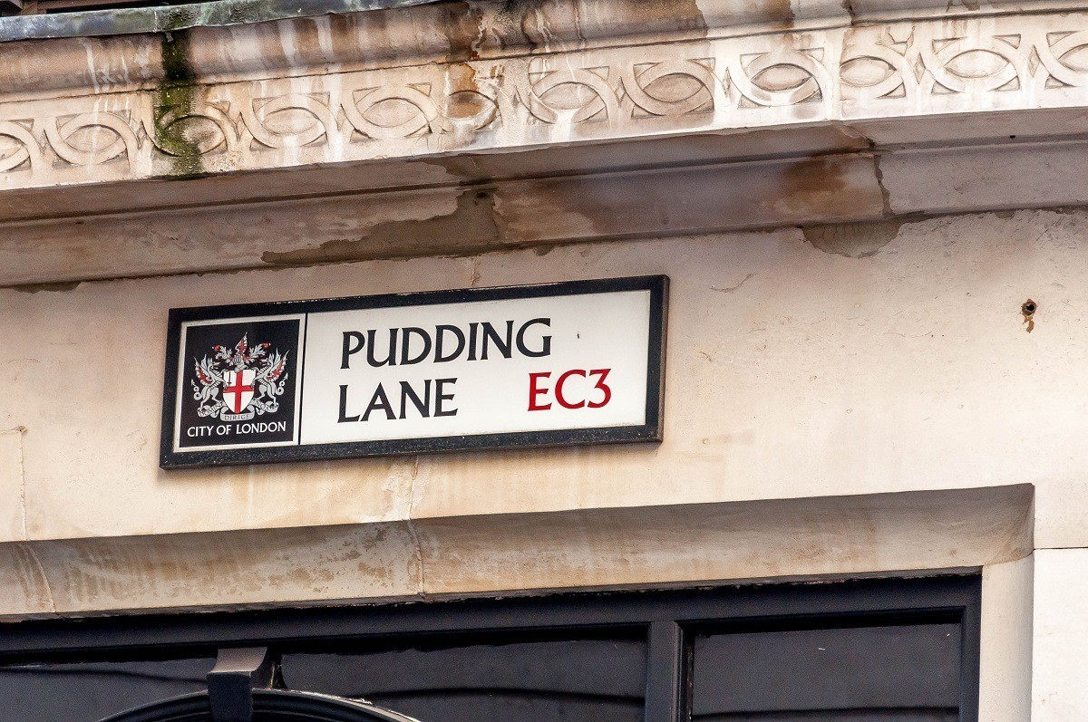 Sign for Pudding Lane, where the Great Fire of London started