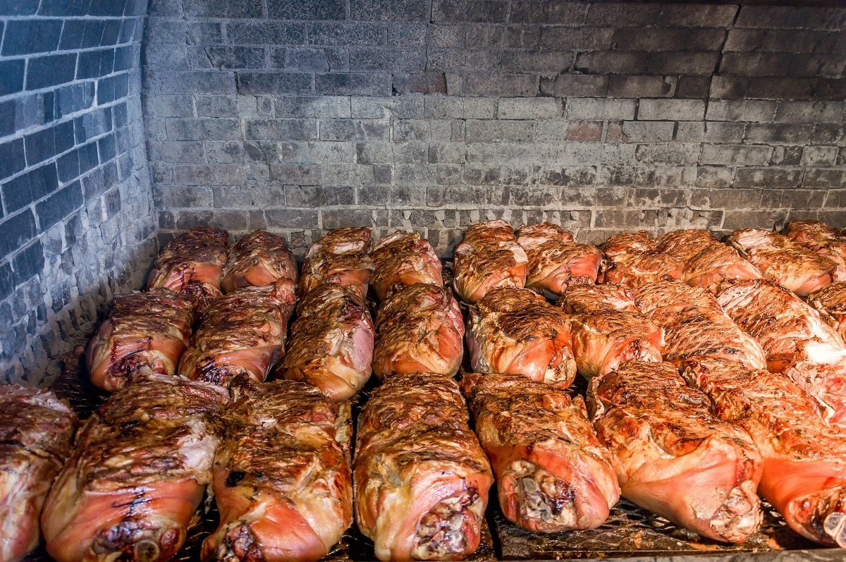 Pork cooking in the pit