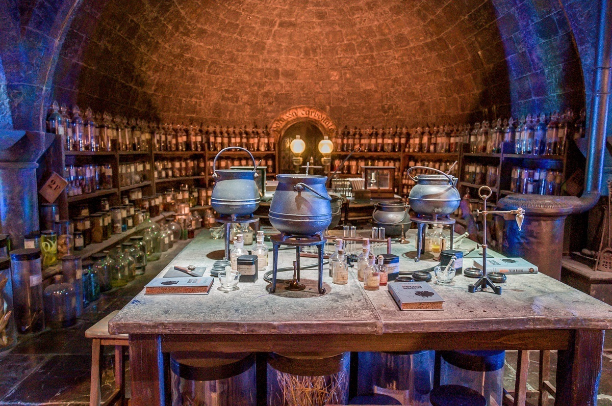 The potions classroom at Hogwarts School of Witchcraft and Wizardry