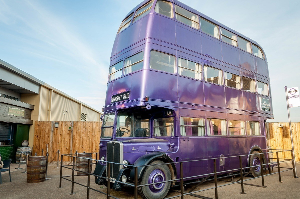 The purple Knight Bus on the Warner Bros. back lot