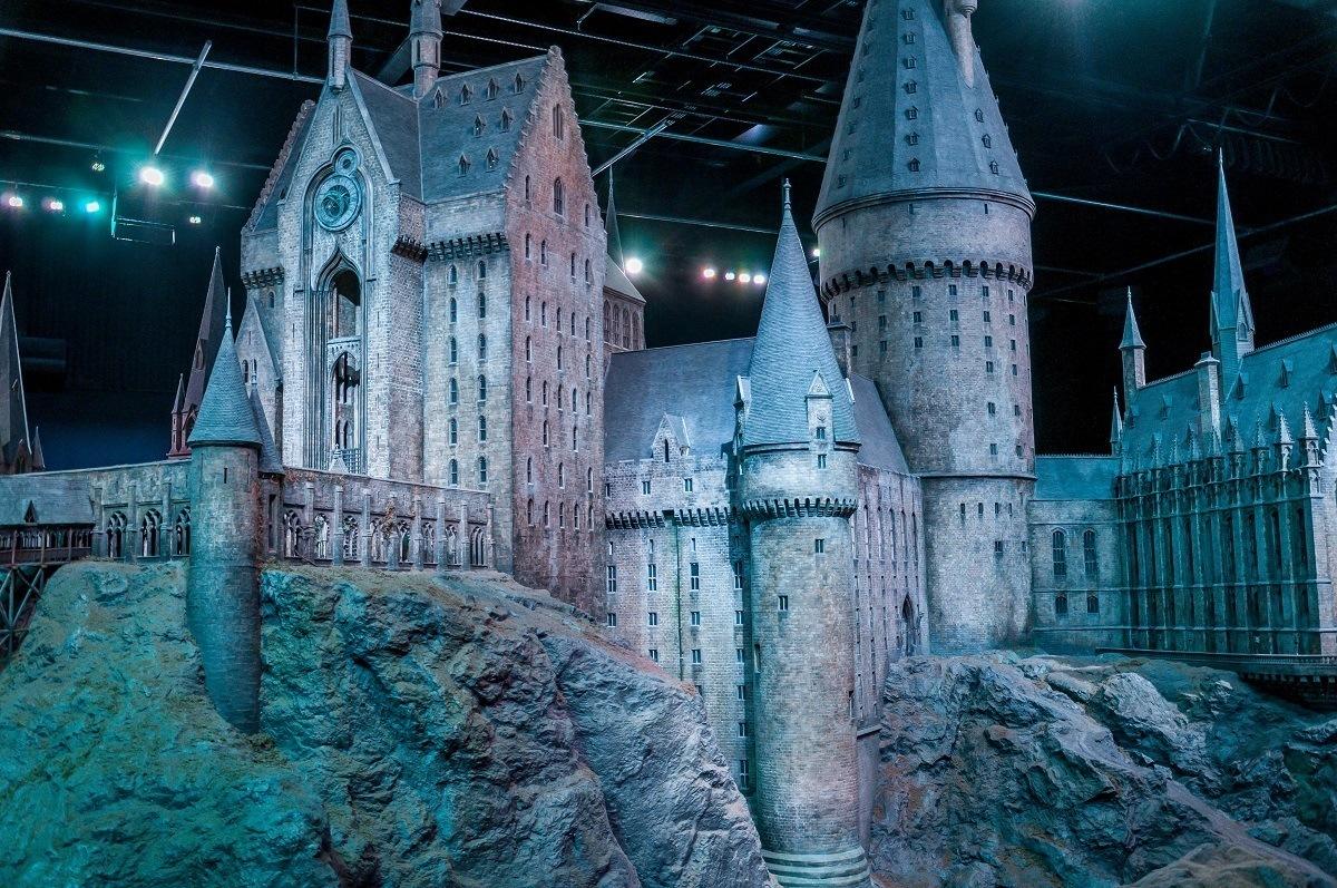 The massive Hogwarts Castle model in Studio K on the Harry Potter London studio tour