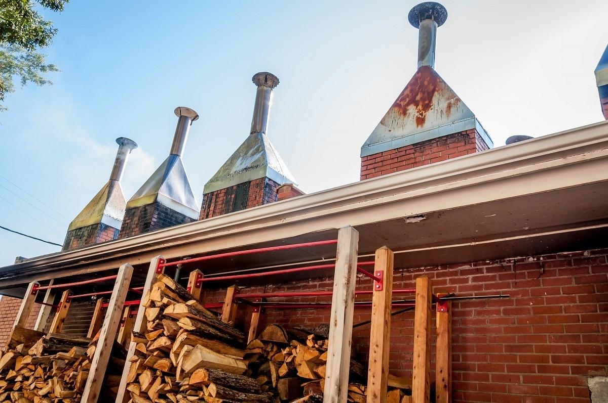 The smokestacks and wood