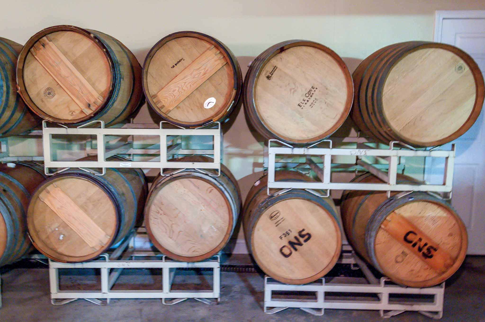 Stacks of wine barrels