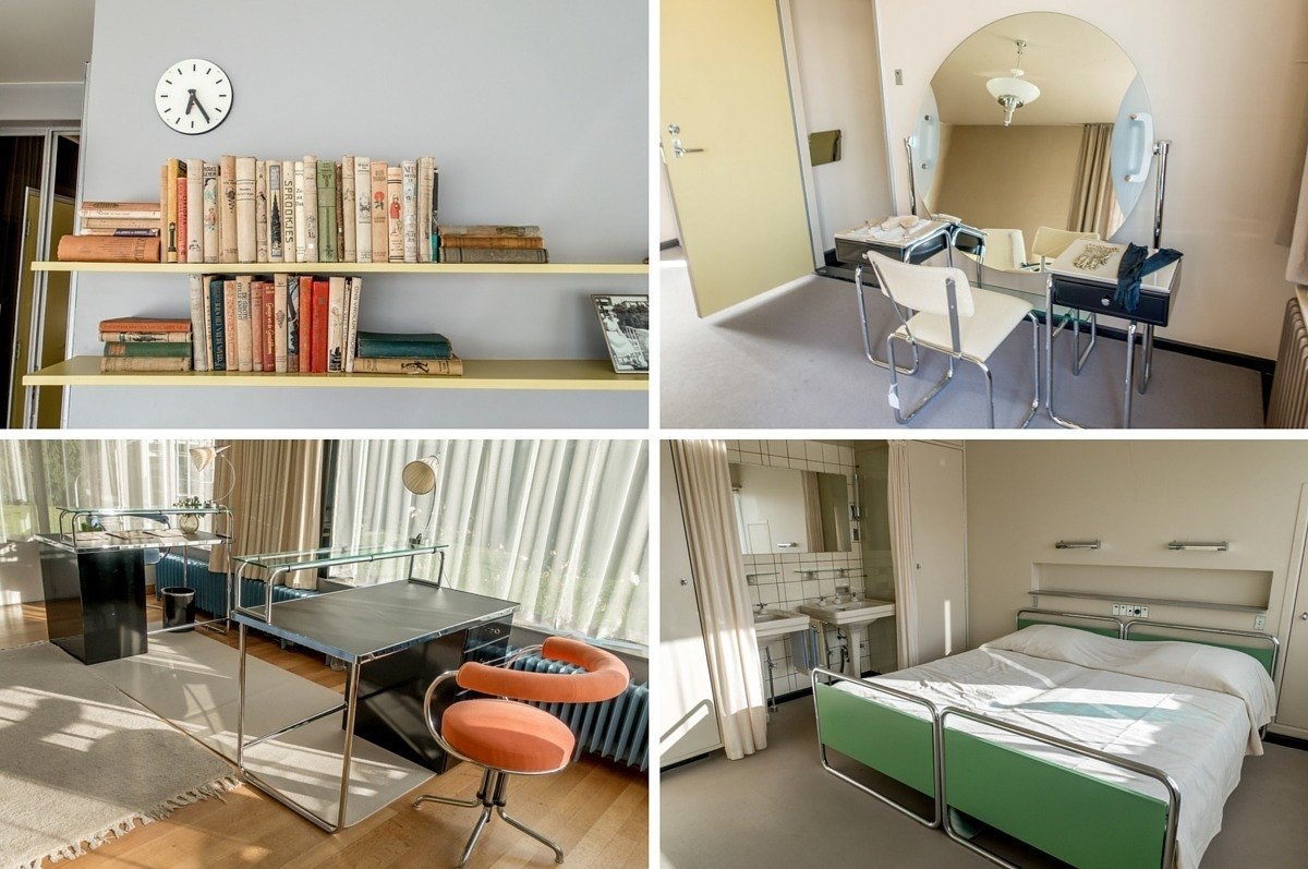 Collage of four photos with modern furnishings in the Sonneveld House