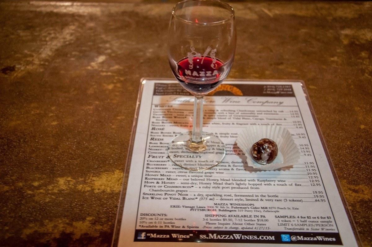 Port wine and chocolate truffle