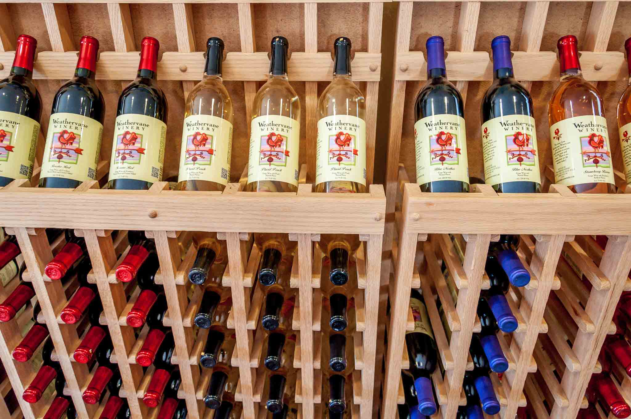 Wine bottles on display at Weathervane Winery