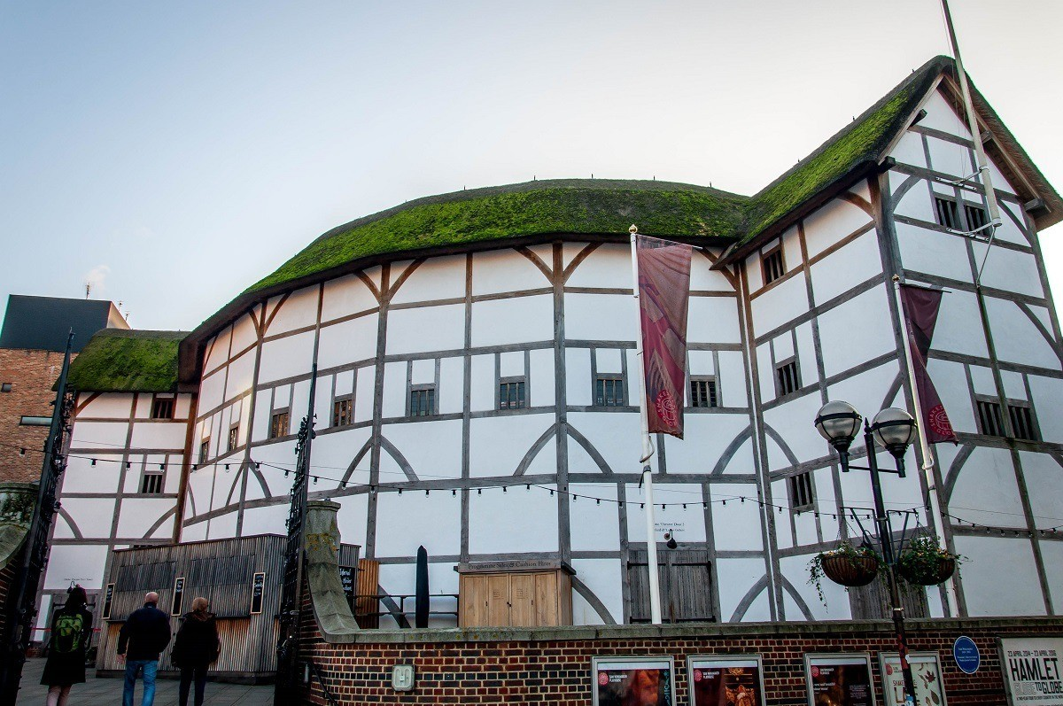Shakespeare's Globe Theater in London on the South Bank of the Thames River