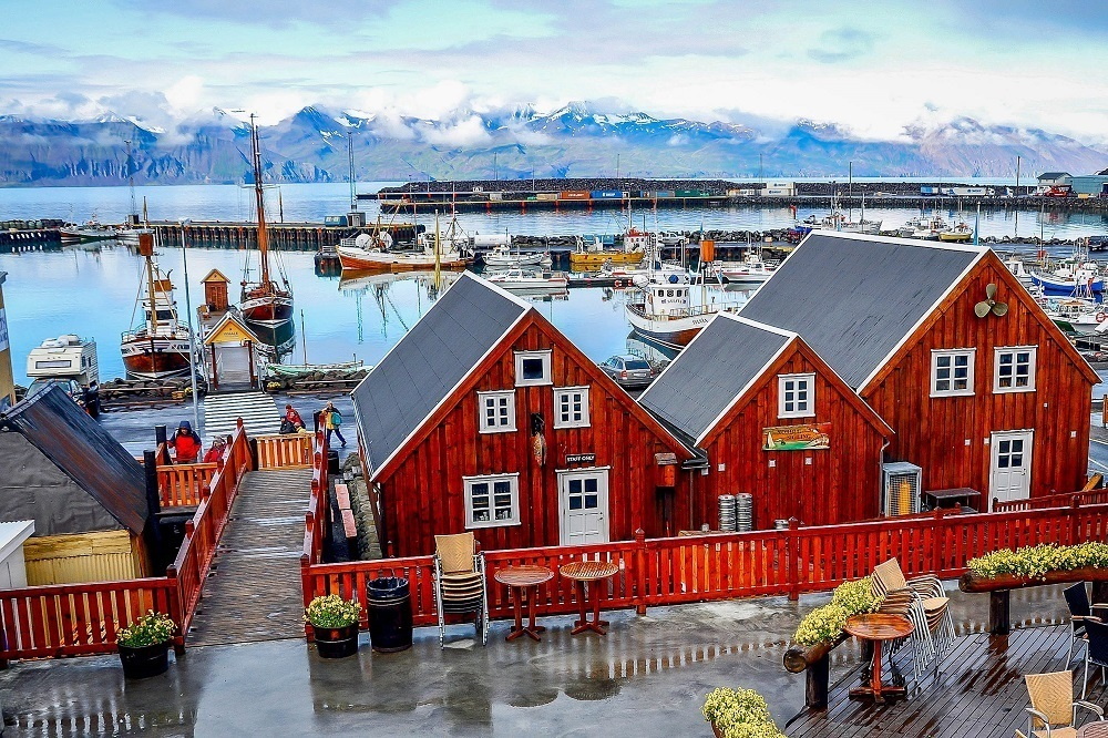 Traditional buildings in the town of Husavik, located on Shaky Bay