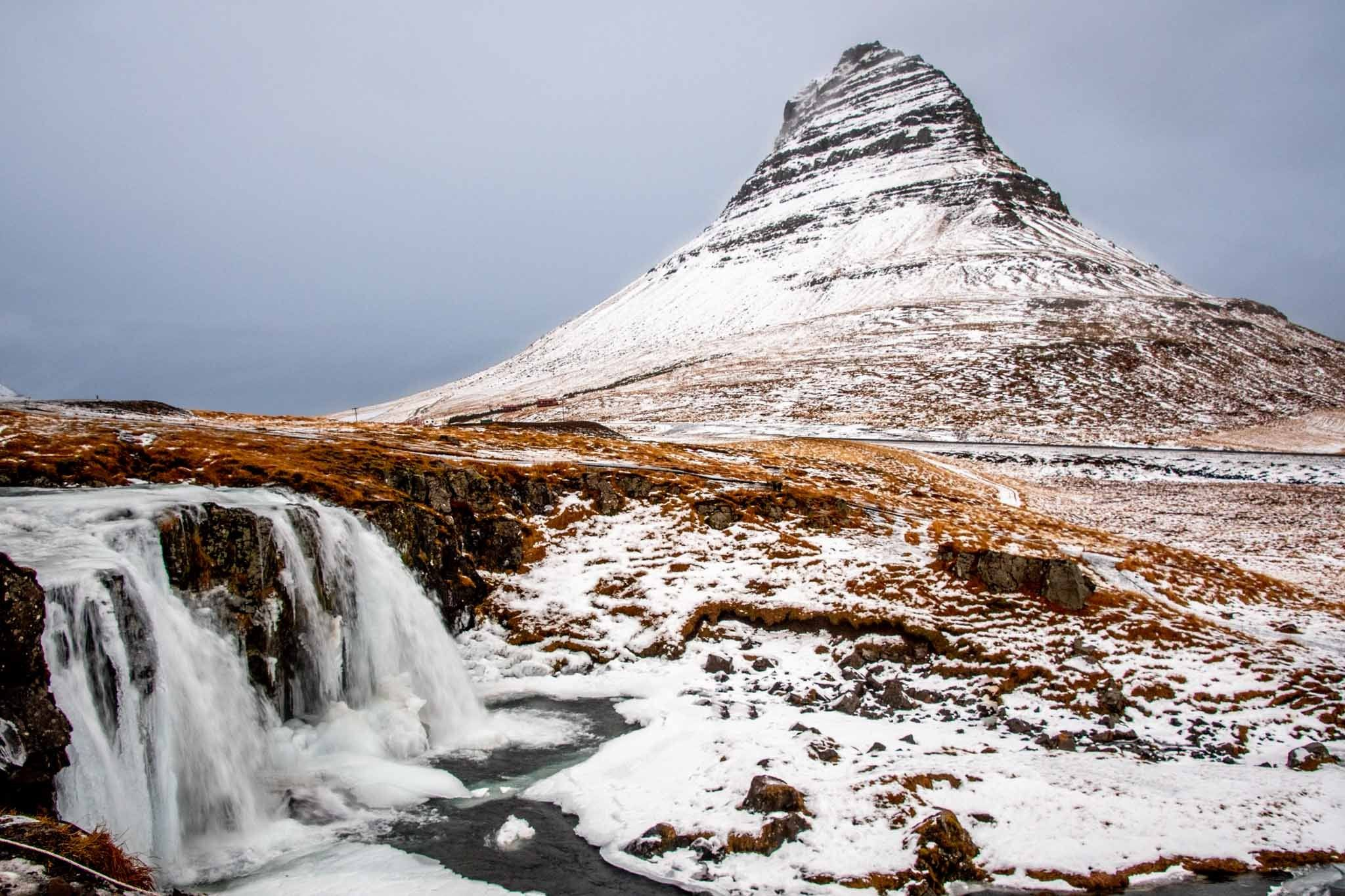The Kirkufell Mountain in the winter with snow