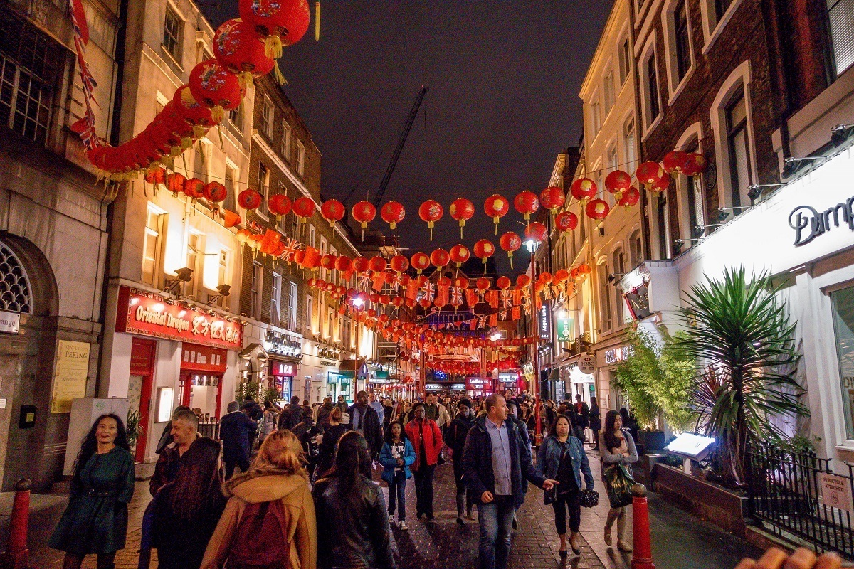 Lanterns in Chinatown, a stop on the London food tours