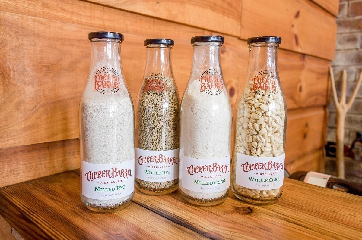 Bottles of grain for distilling